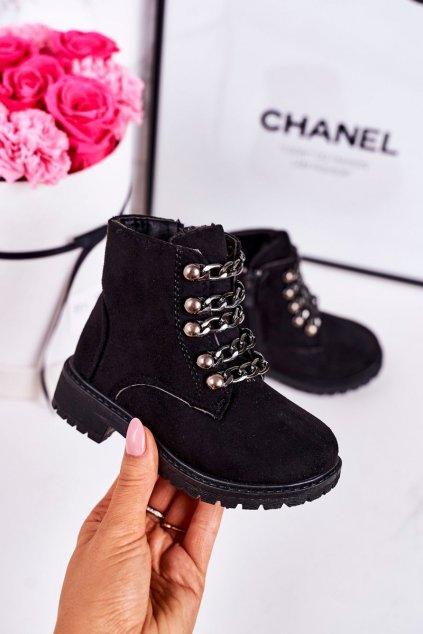 Detské členkové topánky farba čierna kód obuvi TL30K-1 BLACK