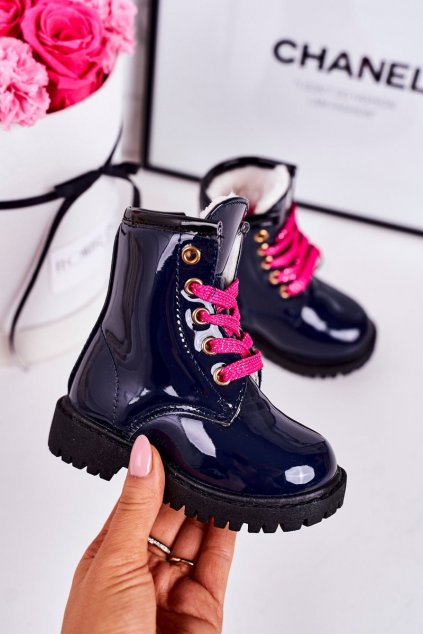 Detské členkové topánky farba modrá kód obuvi E08161A-2 NAVY/PINK