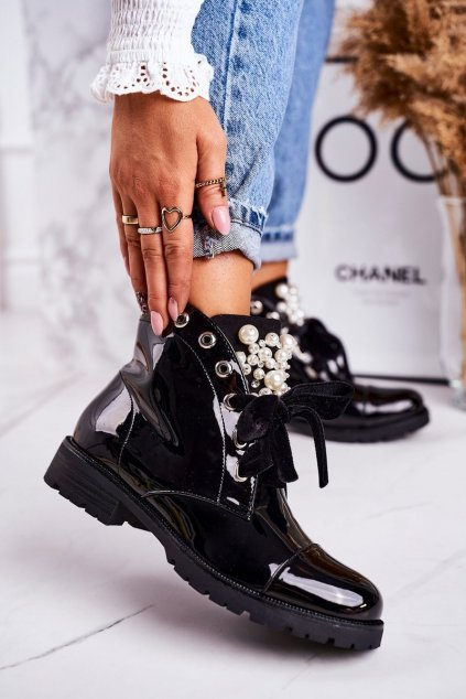 Členkové topánky na podpätku farba čierna kód obuvi A3399E BLK SHINY