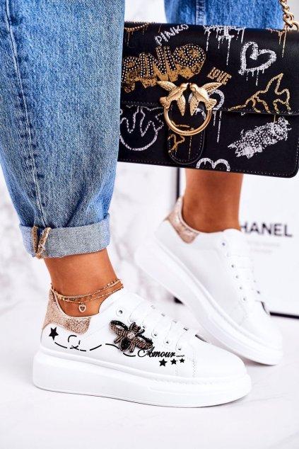 Dámske tenisky farba biela kód obuvi VIVI039 GOLD WHITE