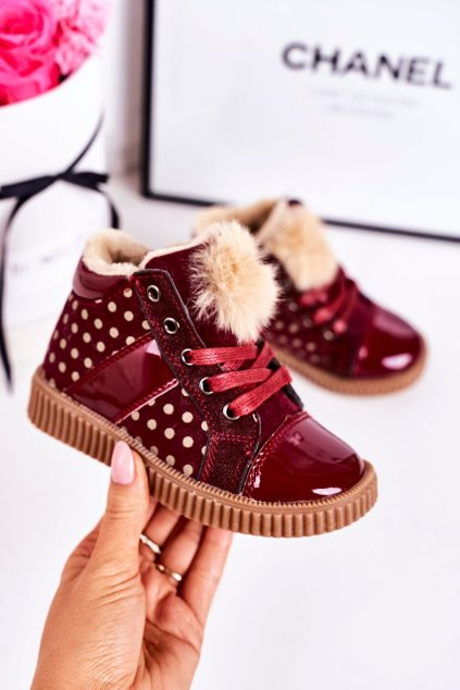 Detské tenisky farba červená kód obuvi A2934 WINE RED