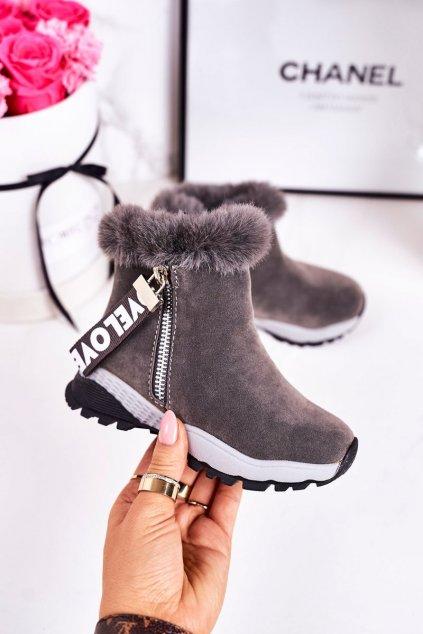 Detské členkové topánky farba sivá kód obuvi A2063 GREY