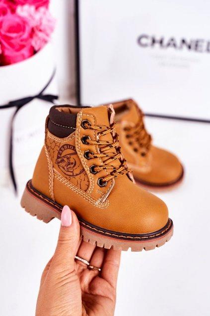 Detské členkové topánky farba hnedá kód obuvi A1353 CAMEL
