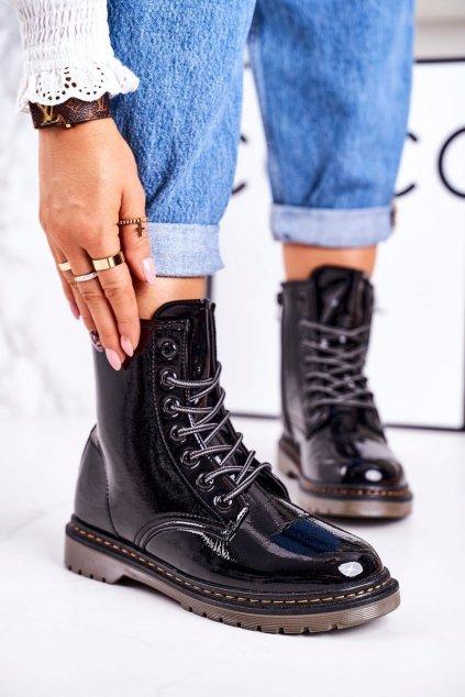 Členkové topánky na podpätku farba čierna kód obuvi TL142-1 BLK SHINY