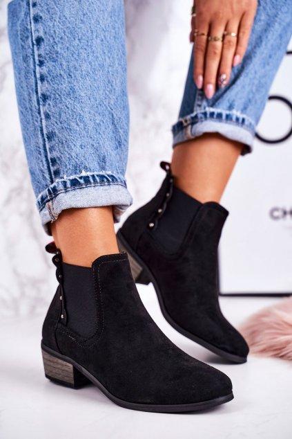Členkové topánky na podpätku farba čierna kód obuvi 20Y8040-1 BLACK