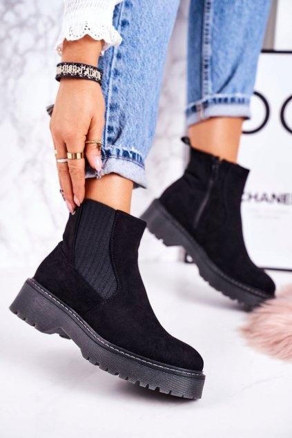 Členkové topánky na podpätku farba čierna kód obuvi 20Y8156-1 BLK