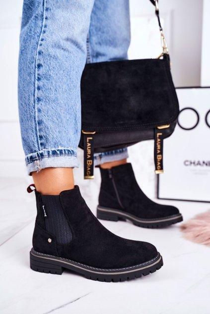 Členkové topánky na podpätku farba čierna kód obuvi 20Y8157-1 SUEDE BLK
