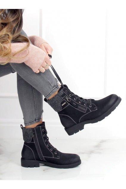 Dámske členkové topánky čierne na plochom podpätku 4058