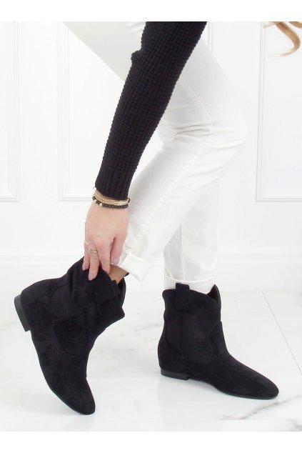 Dámske členkové topánky čierne na plochom podpätku NC1071