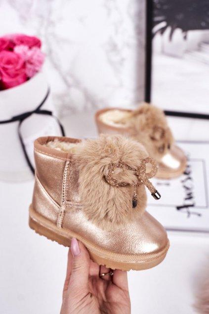 Detské snehule farba žltá kód obuvi 20228-1H/2H CHAMPAGNE