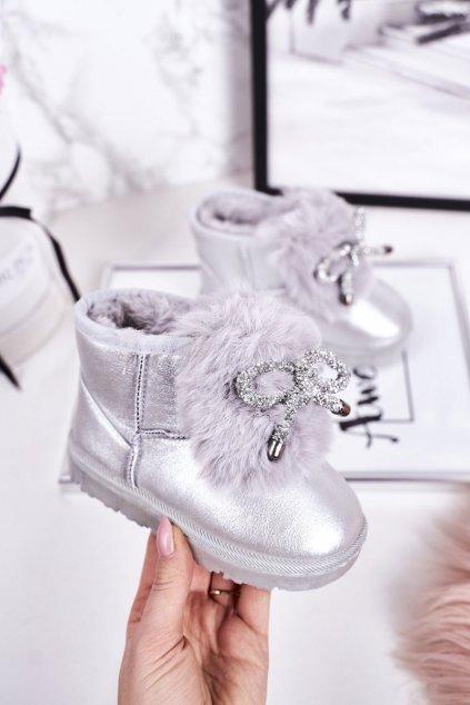 Detské snehule farba sivá kód obuvi 20228-1G/2G SILVER