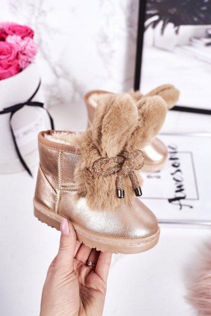 Detské snehule farba žltá kód obuvi 20218-1H/2H CHAMPAGNE