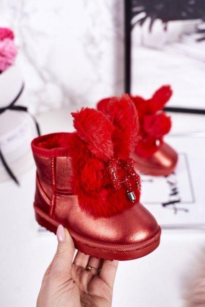 Detské snehule farba červená kód obuvi 20218-1D/2D RED