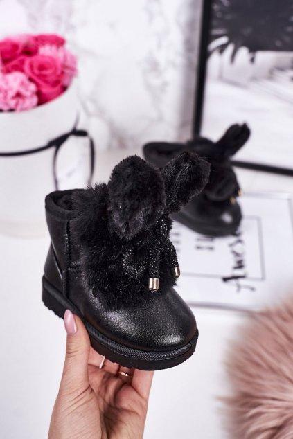 Detské snehule farba čierna kód obuvi 20218-1A/2A BLACK