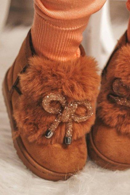 Detské snehule farba hnedá kód obuvi 602-1D CAMEL