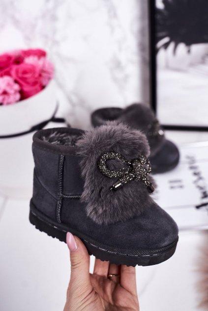 Detské snehule farba sivá kód obuvi 602-1B GREY