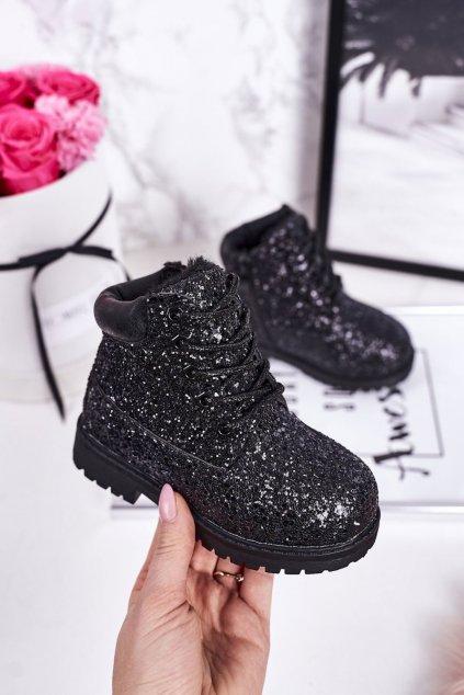 Detské členkové topánky farba čierna kód obuvi 20307-2A/3A BLACK