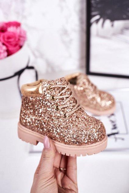 Detské členkové topánky farba žltá kód obuvi 20307-1B/2B CHAMPAGNE