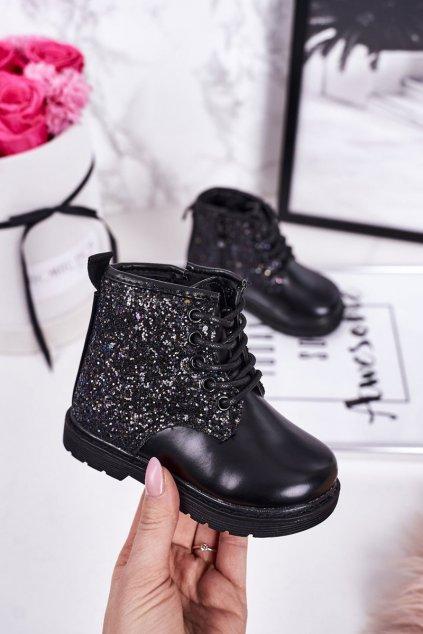 Detské členkové topánky farba čierna kód obuvi 7342-1A/2A BLACK