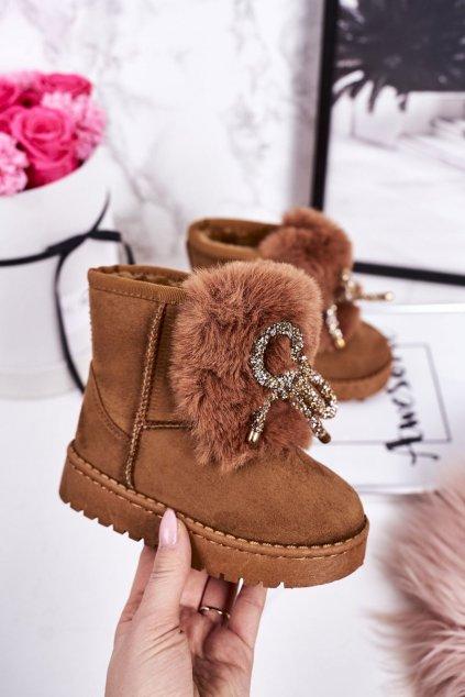 Detské snehule farba hnedá kód obuvi 602-2D CAMEL