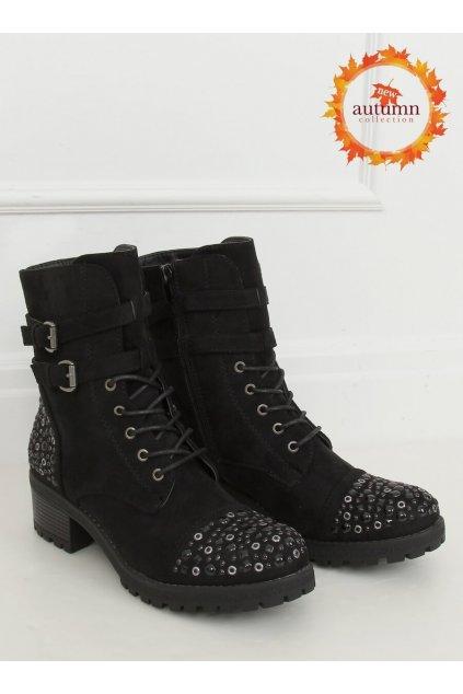 Dámske členkové topánky čierne na širokom podpätku NJSK 88063