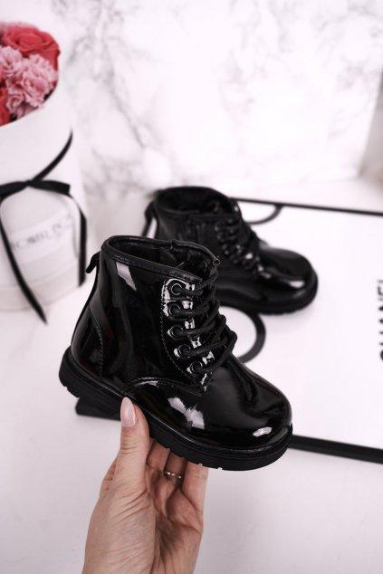 Detské členkové topánky farba čierna kód obuvi 7332-1B SHINY BLK