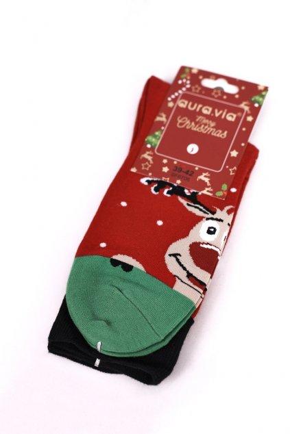 Pánske ponožky farba zelená kód SF6706 RED/GREEN