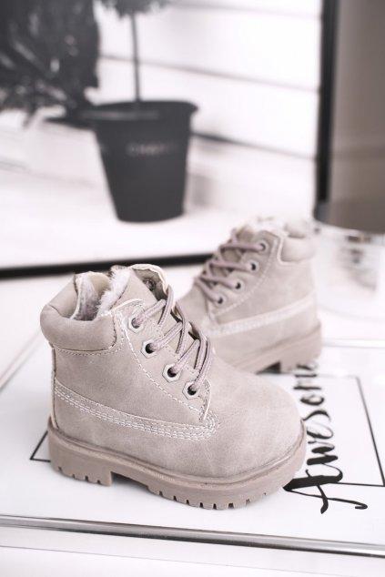 Detské členkové topánky farba sivá NJSK 20306-1D/2D/3D GREY