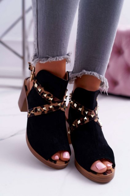 Dámske sandále na podpätku farba čierna NJSK 318-30 BLK