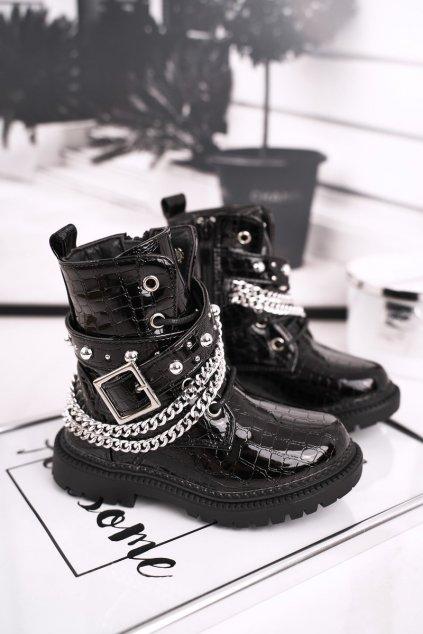Detské členkové topánky farba čierna NJSK 7336-B BLK CROCO