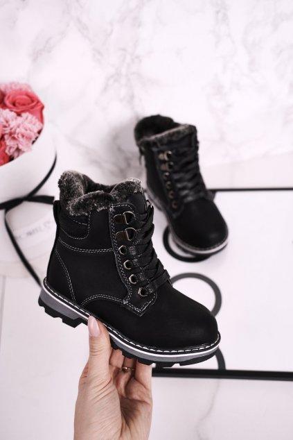 Detské členkové topánky farba čierna kód obuvi J80 BLK