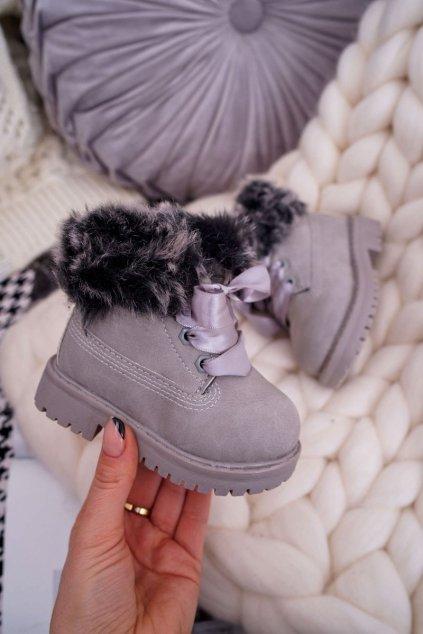 Detské členkové topánky farba sivá NJSK 20304-1D/2D GREY