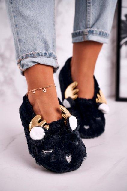 Dámske šľapky farba modrá kód obuvi NM5237 NAVY BLUE