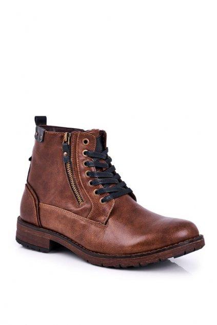 Pánske topánky na zimu farba hnedá NJSK 9MN29-1388 BROWN
