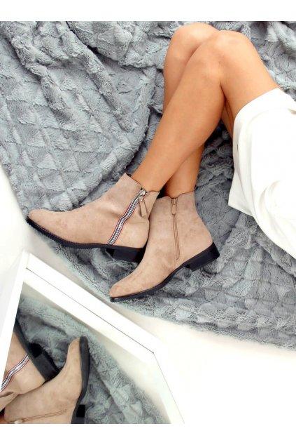 Dámske členkové topánky hnedé na plochom podpätku 168-287