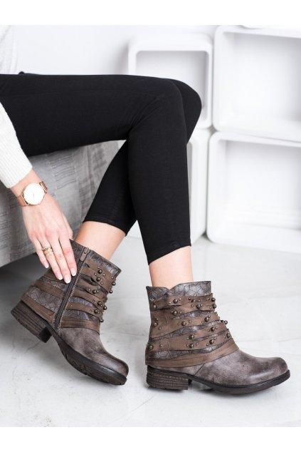 Hnedé dámske topánky Queentina kod BZ66016KH