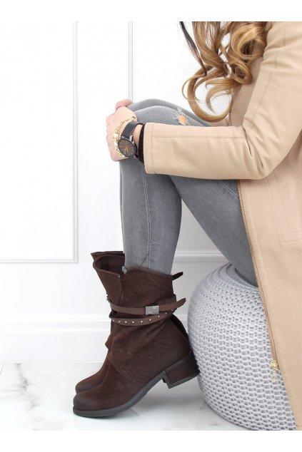 Dámske členkové topánky hnedé na širokom podpätku ST-05P