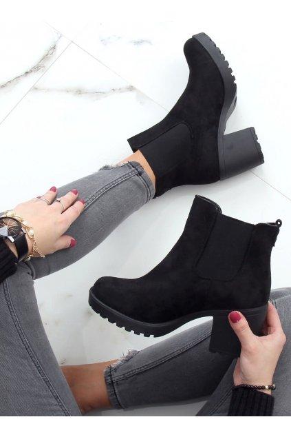 Dámske členkové topánky čierne na širokom podpätku B2880FE-KB