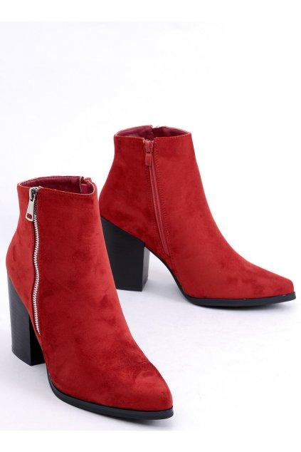 Dámske členkové topánky červené na širokom podpätku TX-1873