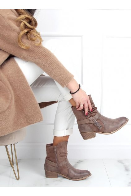 Dámske členkové topánky hnedé na širokom podpätku Z1122