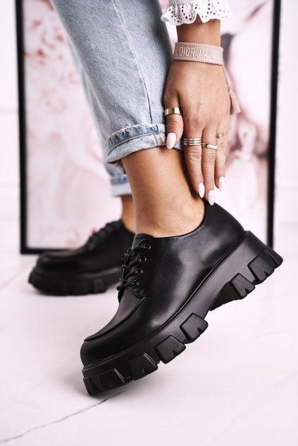 Dámske poltopánky farba čierna kód obuvi HX23 BLACK