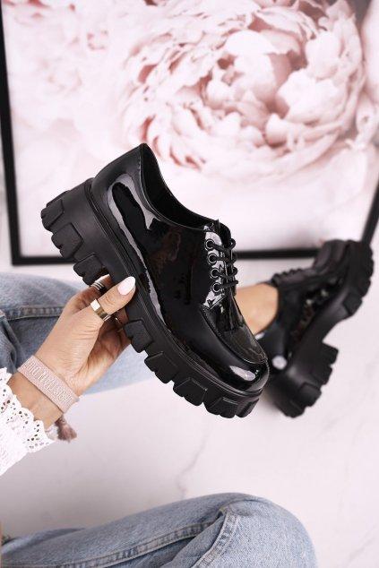 Dámske poltopánky farba čierna kód obuvi HX23 SHINY BLACK