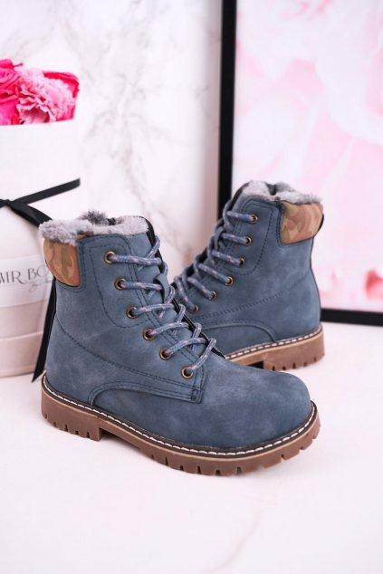 Detské členkové topánky farba modrá kód obuvi HD158 BLUE