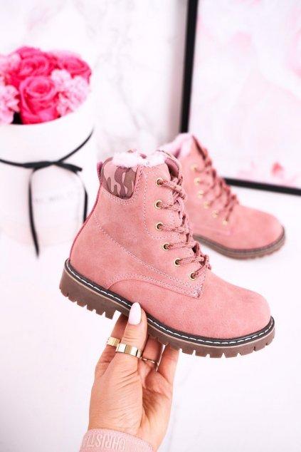 Detské členkové topánky farba ružová kód obuvi HD158 PINK