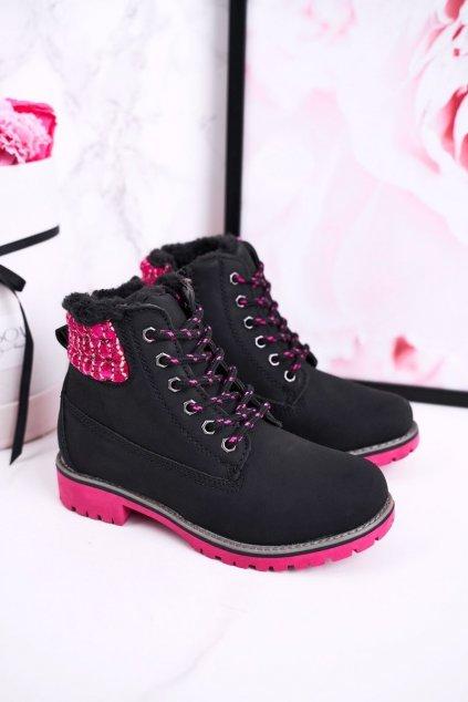 Detské členkové topánky farba čierna kód obuvi HD160 BLK