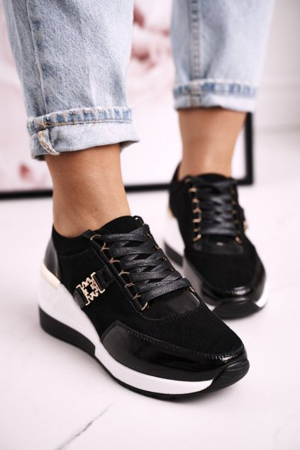 Dámske tenisky farba čierna kód obuvi LR94865 BLK GOLD