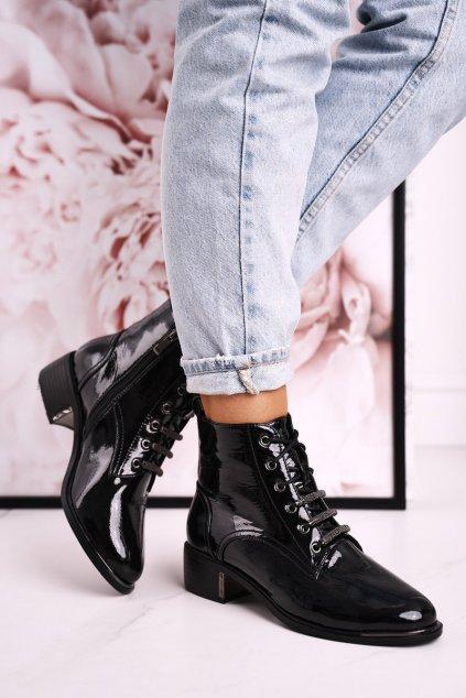 Členkové topánky na podpätku farba čierna kód obuvi N30 BLACK