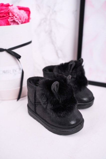 Detské snehule farba čierna kód obuvi 20204-1A/2A/3A BLACK