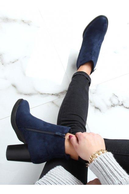 Dámske členkové topánky modré na stĺpovom podpätku 1155