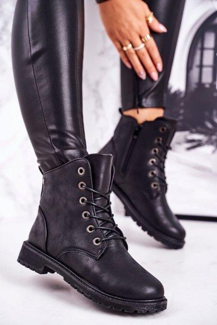 Členkové topánky na podpätku farba čierna NJSK TL32-1 BLACK